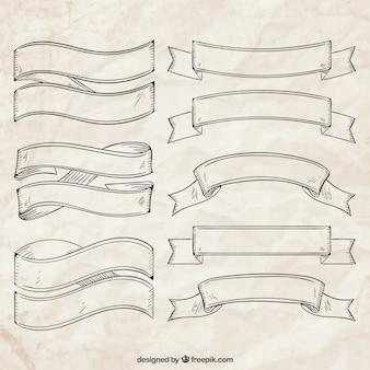 Sketchy retro ribbons