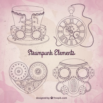 Sketchy steampunk mechanic elements