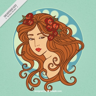 Sketchy woman with long hair background in art nouveau style