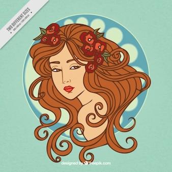 アールヌーボー様式の長い髪の背景とスケッチ女性