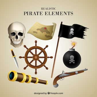 Skull and other elements of pirates