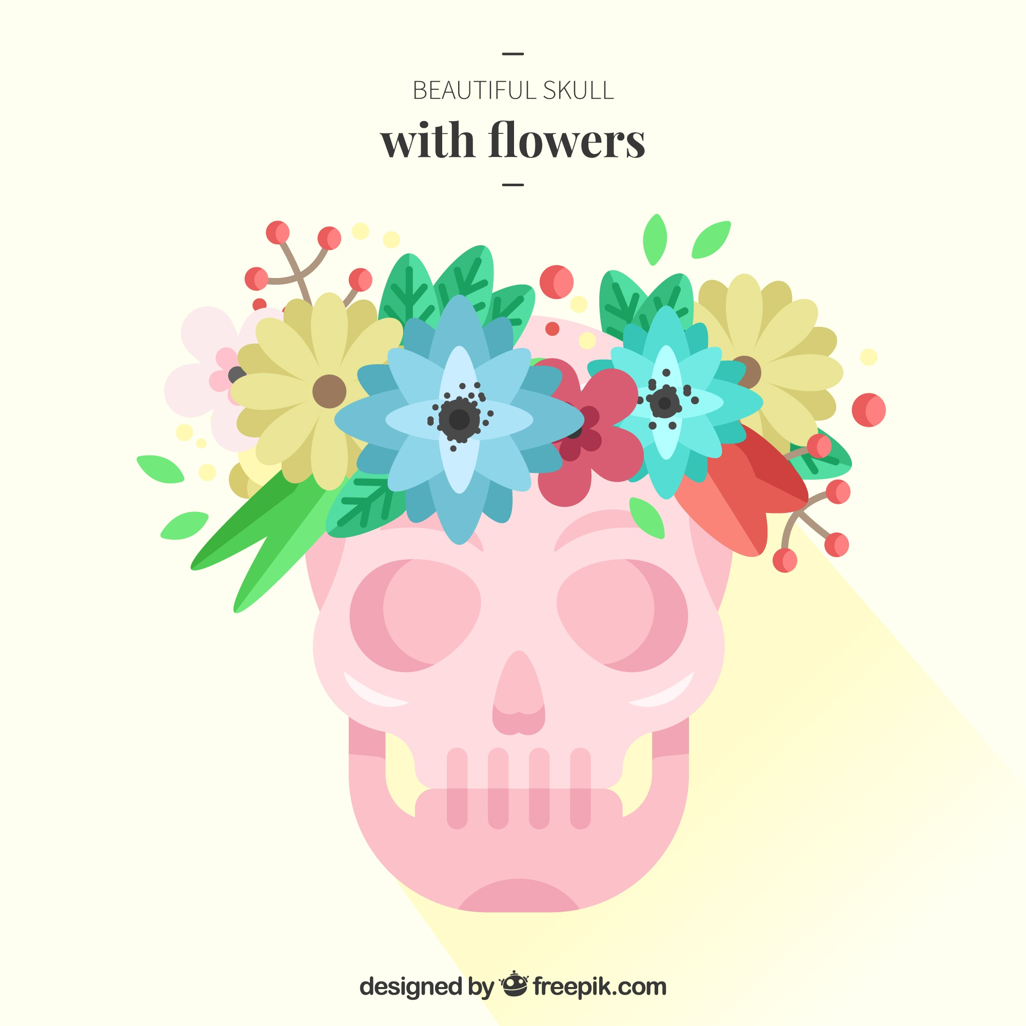 Skull background with colorful flowers