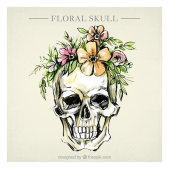 Skull background with floral watercolor elements
