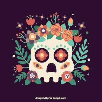 Skull background with flower decoration