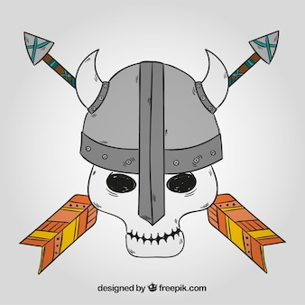 Skull background with hand drawn viking helmet