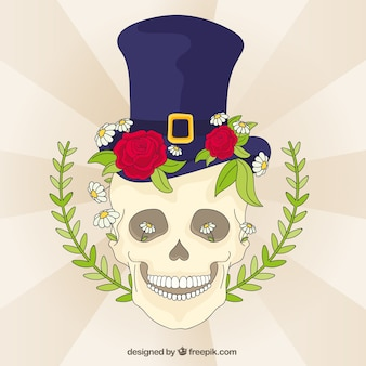 Skull background with hat and floral elements