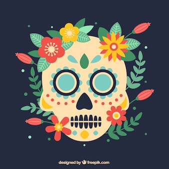Skull background with natural elements