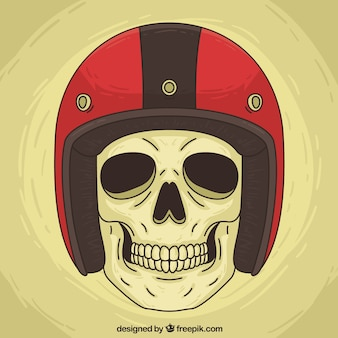 Skull background with red helmet