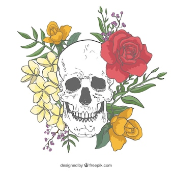 Skull background with roses and hand drawn leaves