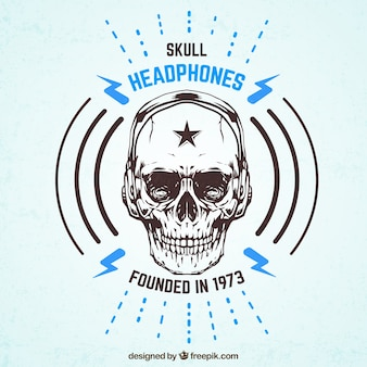 Skull headphones badge