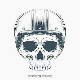 Skull skeleton with helmet