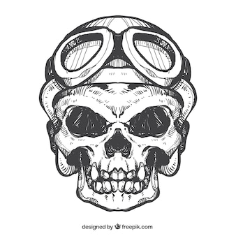 Skull sketch with helmet and glasses