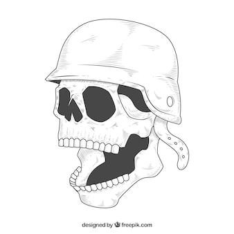Skull sketch with open mouth and helmet