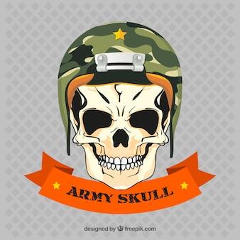 Skull with army helmet