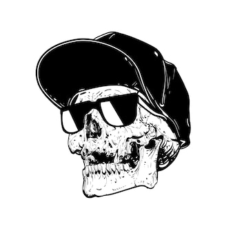 Skull with cap and sun glasses