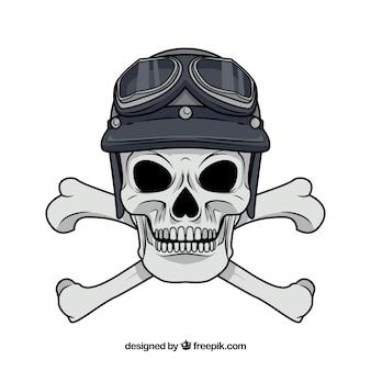 Skull with cross bones and hat
