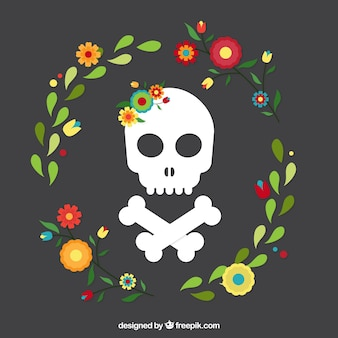 Skull with floral wreath