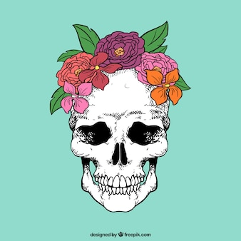 Skull with hand drawn flowers
