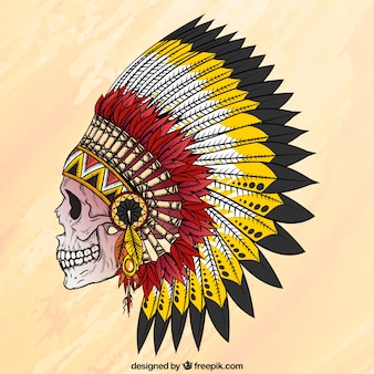 Skull with hand drawn indian feathers