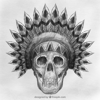 Skull with hand drawn indian hat