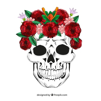 Skull with hand drawn roses