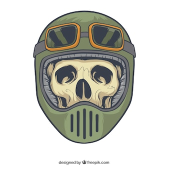 Skull with helmet and glasses