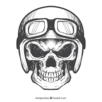 Skull with helmet and hand-drawn glasses