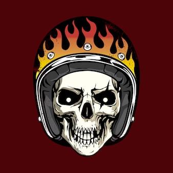 ヘルメットと炎のある頭蓋骨