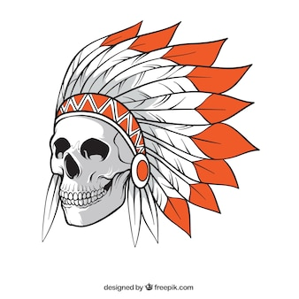 Skull with indian hat