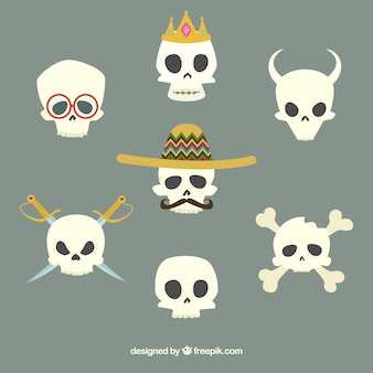 Skull with mexican hat and others