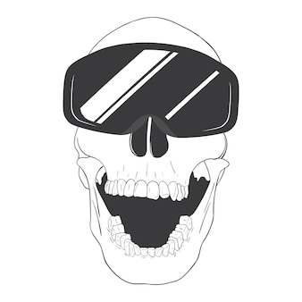 Skull with skiing goggles