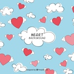 Sky background with hearts and clouds
