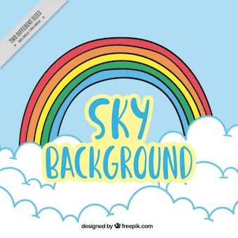 Sky background with rainbow and clouds