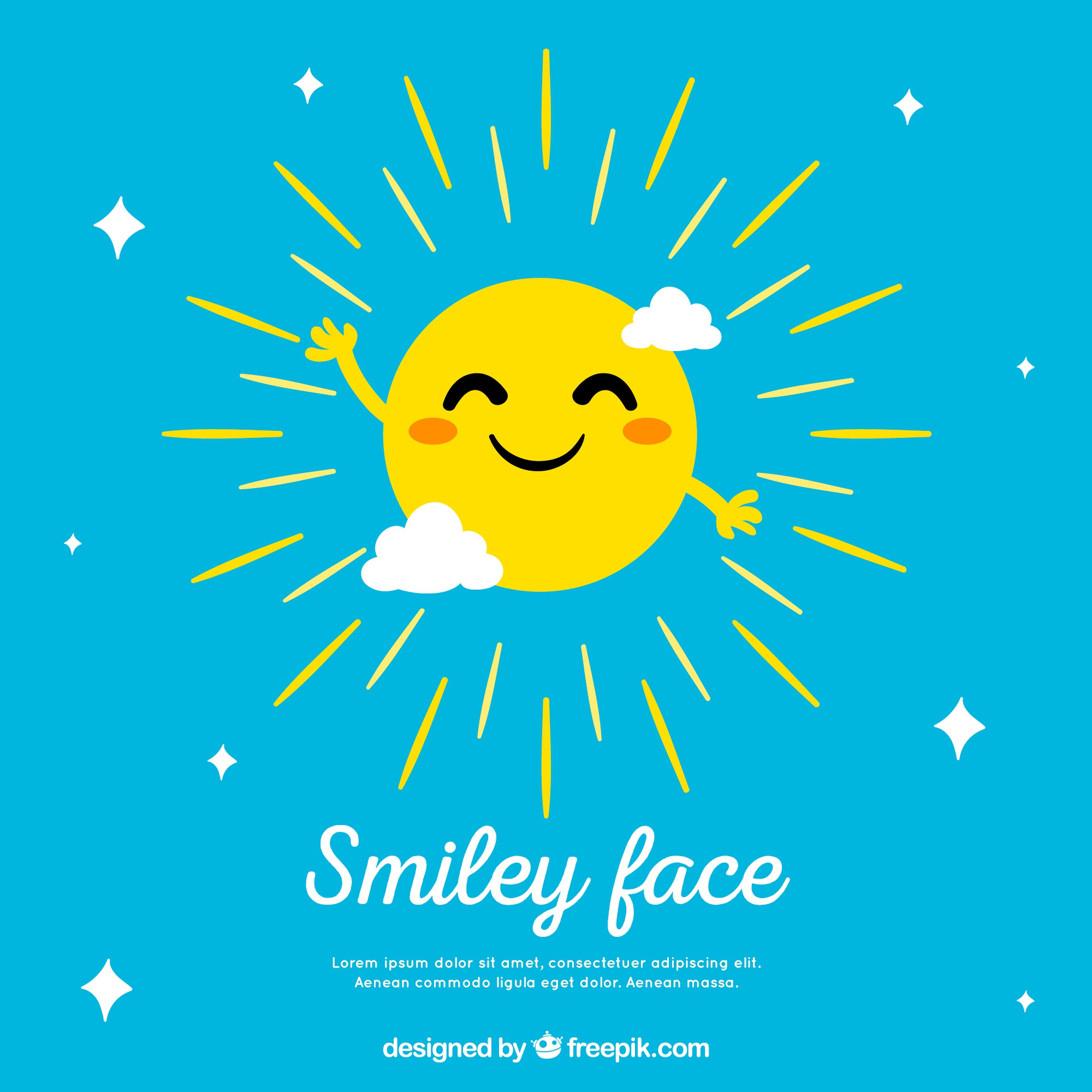 Sky background with sun smiling