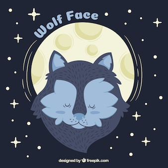 Sleepy wolf face