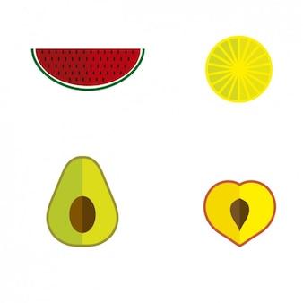 Sliced fruits illustration