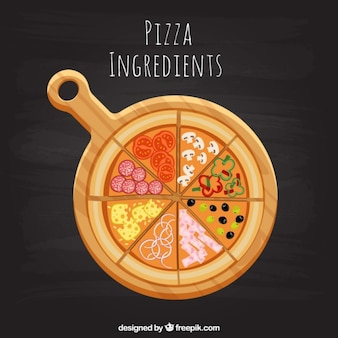 Slices of pizza with different ingredients