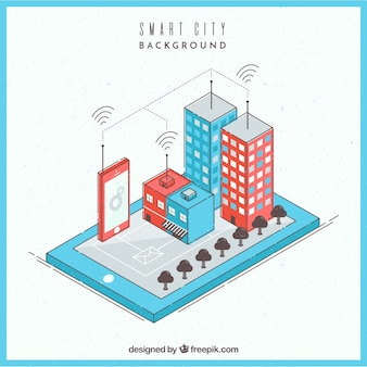 Smart business city in isometric style