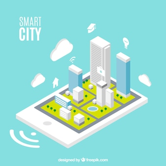 Smart city background with skyscrapers