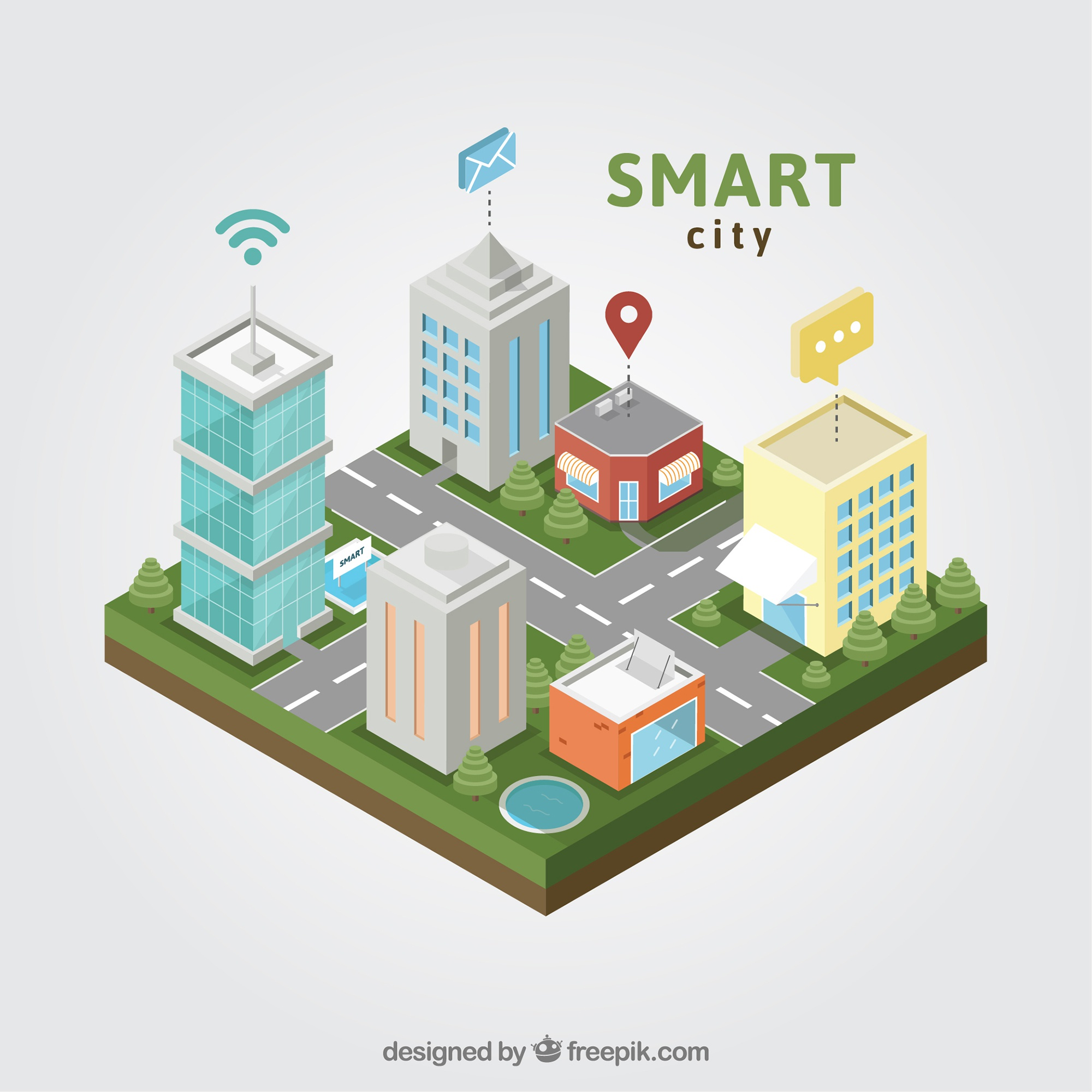 Smart city top view
