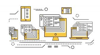 смартфон, планшет, ноутбук и настольный компьютер. Отзывчивый веб-дизайн и большие данные. плоские тонкие линейные элементы дизайна. векторные иллюстрации