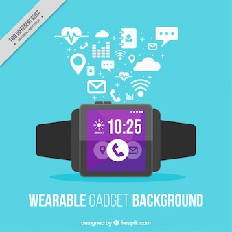 Smart watch on blue background