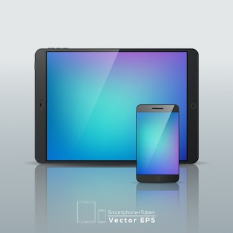 Smartphone and tablet with abstract screen
