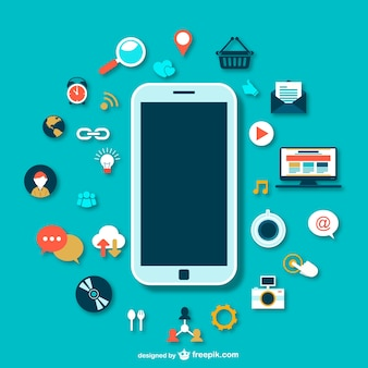 Smartphone with icons vector