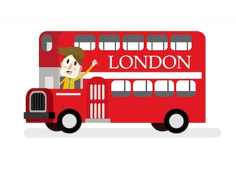 Smile man with red Die cast miniature London Route Master bus.  flat design