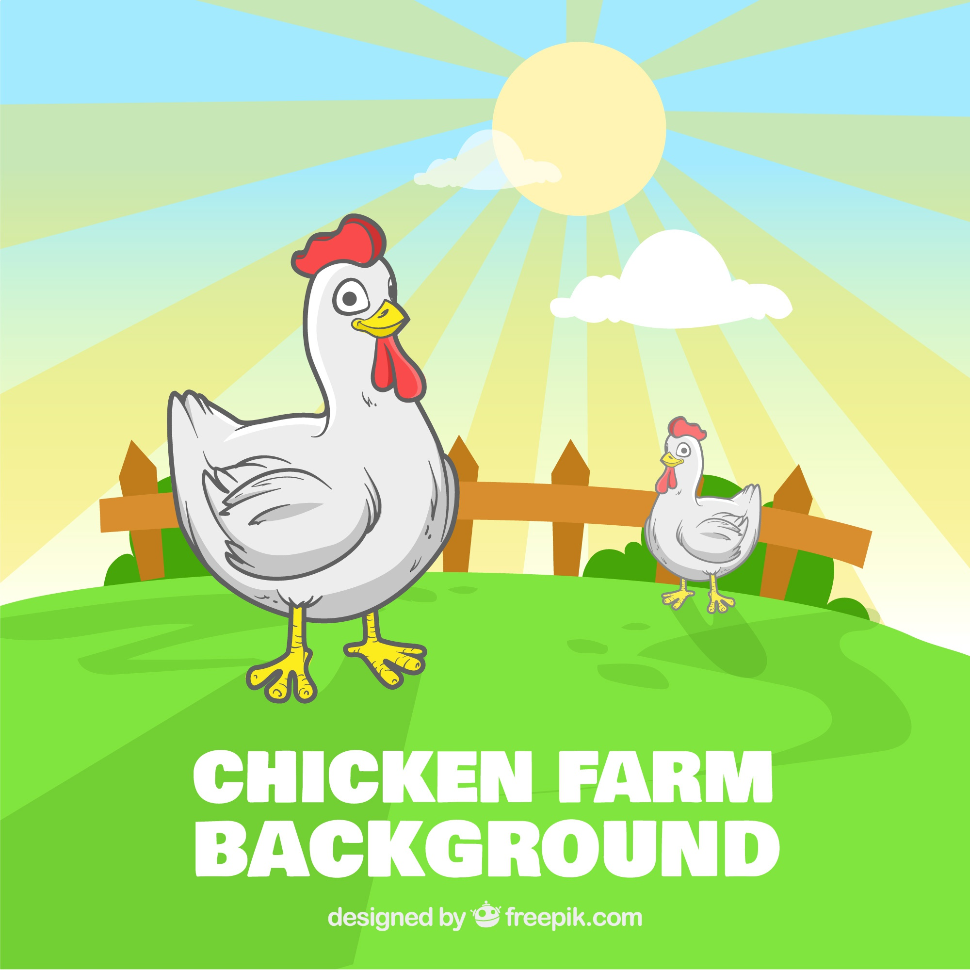 Smiley chicken farm background