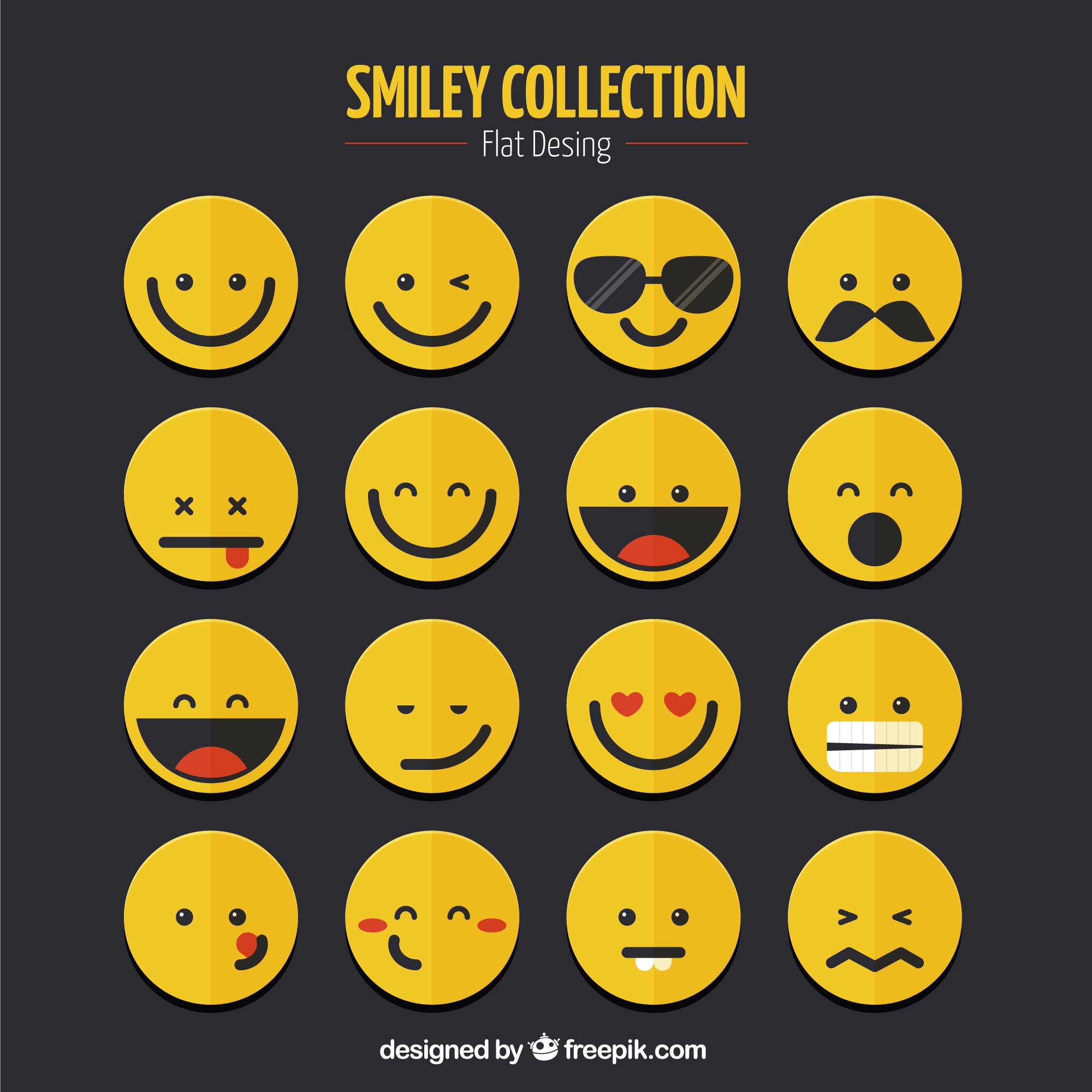Smiley collection in flat design