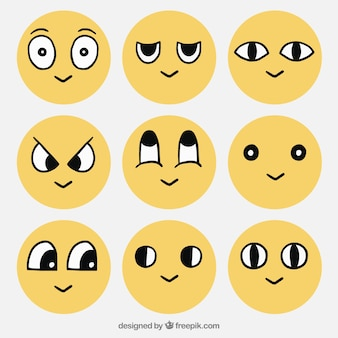 Smiley collection with hand drawn eyes