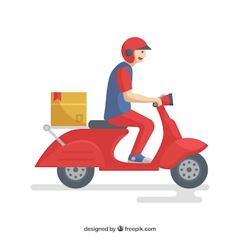 Smiley delivery man on scooter
