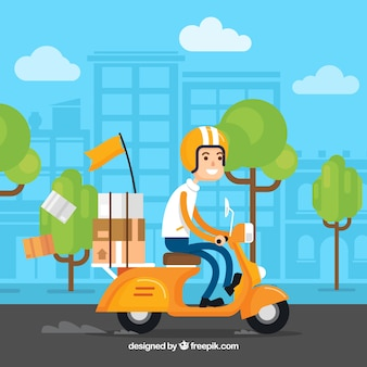 Smiley deliveryman on the scooter